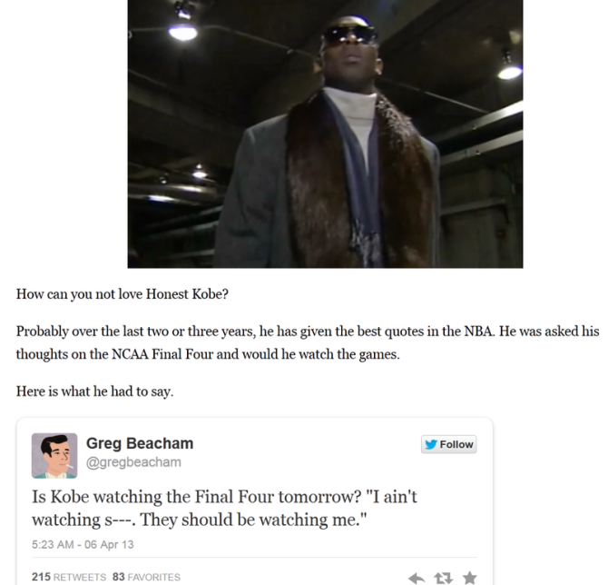 Kobe Bryant on watching Final Four: They should be watching me | Larry Brown Sports